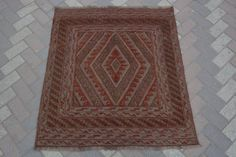 vintage afghan tribal handmade square rug kilim Persian design rug 3'7 x 4' Ft #Handmade #Tribal