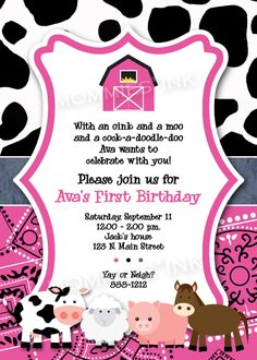 Pink Mod Farm Animals Birthday Party Invite - PRINTABLE INVITATION DESIGN. $12.50, via Etsy.