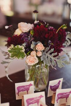 Burgundy purple cream wedding centerpieces - Famous Last Words Mod Wedding, Floral Wedding, Fall Wedding, Wedding Colors, Wedding Flowers, Cream Wedding, Elegant Wedding, Perfect Wedding, Wedding Reception