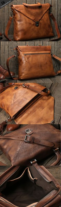 Handmade leather men Briefcase messenger large vintage shoulder Wedding Favors Gift Bag Ideas Once b Leather Laptop Bag, Leather Luggage, Leather Briefcase, Leather Purses, Leather Wallet, Men Wallet, Briefcase For Men, Laptop Briefcase, Laptop Backpack