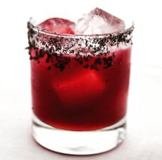 Black Margarita with thyme-fatwashed tequila, lime, blackberry puree, and a black salt rim. Halloween Cocktails, Cocktail Menu, The Fresh, Restaurant Bar, Tequila, Afternoon Tea, Ham, Panna Cotta, Cocktails