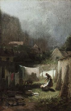 Hanging the Laundry, by Carl Spitzweg (1808-1885). Well, this is bleak. Having no choice but to hang out the laundry on a really ugly day.