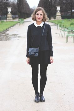 The Kooples shirt and skirt, Equipment sweater, Barbour duffle coat, Wolford tights, Church's shoes and Reed Krakoff mini bag. Black Brogues Outfit, Brogues Womens Outfit, Black Tights Outfit, All Black Outfit, Skirt Outfits, Chic Outfits, Fashion Outfits, Navy Mini Dresses, Navy Dress