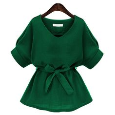 V Neckline Self Tie Blouse (1.240 RUB) ❤ liked on Polyvore featuring tops, blouses, v neck tops, batwing blouse, self tie blouse, v-neck tops and green blouse