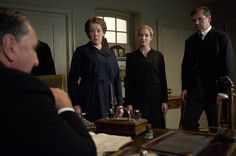 Carson (Jim Carter), Mrs. Hughes (Phyllis Logan), Anna (Joanne Froggatt), and Bates (Brendan Coyle) in Downton Abbey Series 3, Part 6
