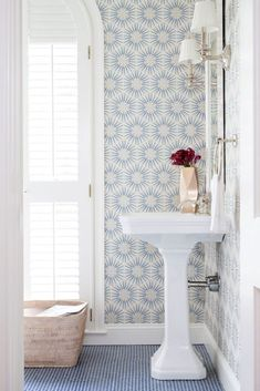 ESD | Life of Virginia Street:  Traditionally Modern Bathroom with Blue and White Wallpaper via Ella Scott…