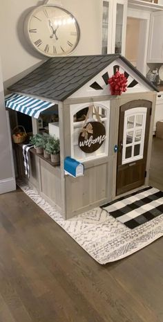 The Hillcrest Playhouse by KidKraft is built to inspire imaginative play in a beautiful house that's full of fun and excitement. Wooden Outdoor Playhouse, Kim House, Cafe Style, Toy Rooms, Bench With Storage, Playrooms, Kiosk, Play Houses, Home Buying