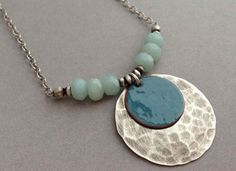 Silver focal turquoise beads necklace