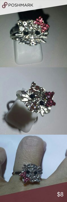 HELLO KITTY RING, KIDS OR ADULT Perfect for the Easter Basket!!  Adorable Rhinestone, silver tone 'Hello Kitty', adjustable ring Jewelry Rings