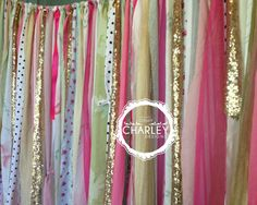 Pink Green &  Gold Sparkle Sequin Fabric Backdrop - Wedding Garland, Photo Prop, Curtain, Baby Shower, Crib Garland