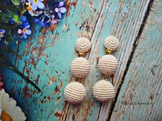 BEIGE color Ball drop earrings ClipStud beads Dangle