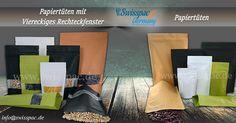 #Papiertüten mit Viereckiges #Rechteckfenster  #Papiertüten http://www.swisspac.de/