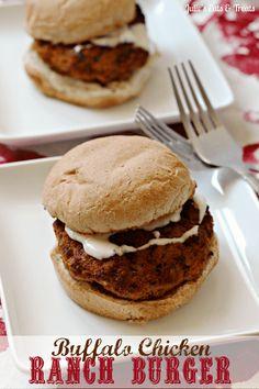 Buffalo Chicken Ranch Burger ~ Healthy baked chicken burgers with a bite! via www.julieseatsandtreats.com