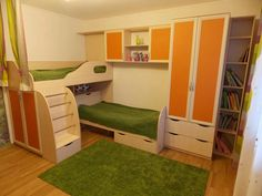 Bunk beds for children — all sorts of models and types - Part 4 Kid Beds, Bunk Beds, Student Room, One Bed, Kids Room Design, Best Interior Design, Girl Room, Room Interior, Kids Bedroom