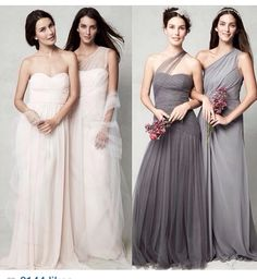 Chiffon bridesmaid dresses maybe in navy and magenta