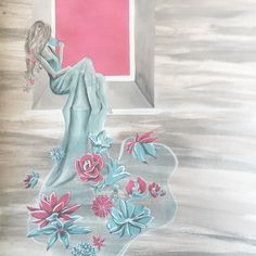 Katrina Ryan Art - Woman in a long floral gown - flowers - acrylic painting
