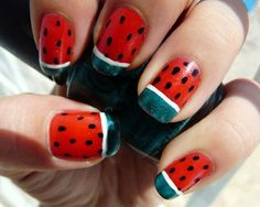 Brittney W.    Brittney's bold color choices mirror fresh, ripe watermelon slices. Opting for a French manicure format, she painted most of the surface red, then added black dots for seeds and drew on a rind at the tip of each nail.