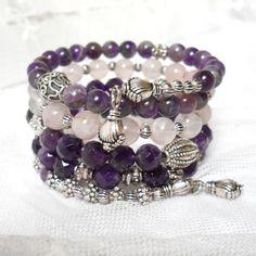 amethyst rose quartz memory wire bracelet purple by minouc on Etsy, €35.00