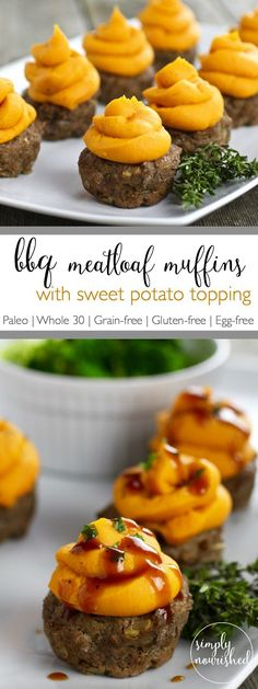 4 Points About Vintage And Standard Elizabethan Cooking Recipes! Bbq Meatloaf Muffins With Sweet Potato Topping Paleo Whole 30 Egg-Free Sweet Potato Toppings, Steamed Sweet Potato, Paleo Sweet Potato, Paleo Recipes, Real Food Recipes, Yummy Food, Potato Recipes, Chicken Recipes, Whole30 Ground Beef Recipes