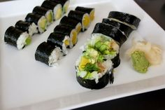 Avocado roll, oshinko roll, salad roll