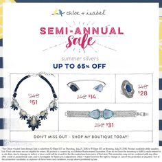 Keep it cool this summer with our Semi-Annual Sale – happening now on my boutique!  http://www.chloeandisabel.com/boutique/misslily