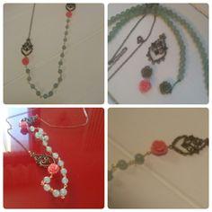 Handmadenecklace verde,rosa antico e bronzo....