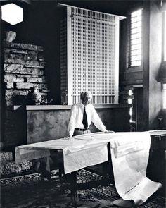 Frank Lloyd Wright… at Taliesin posing in front of the San Francisco Call Building…1939 Photo Pedro Guerrero…