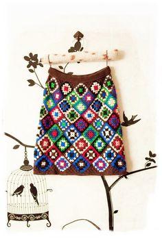 Mini skirt boho crochet granny square ready to ship by CopperLife