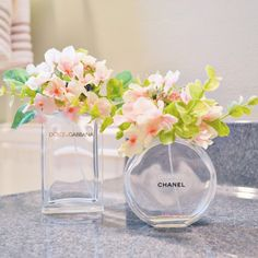 Such a simple project to do with empty perfume bottles! Love these little flower arrangements!
