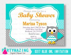 New from Partymazing on Etsy: Owl Baby Shower Invitation Printable Owl Invitation Turquoise and Grey Boy Baby Shower invitations Aqua Owl Baby Shower Collection  D317 (12.50 USD) For more @partymazing
