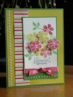 AEstamps a Latte...: Spring Flowers-Stamps: Bloomin Marvelous Paper: Print Poetry DSP Ink: Summer Starfruit, Raspberry Ripple, Gumball Green Accessories: Needlepoint Embossing Folder
