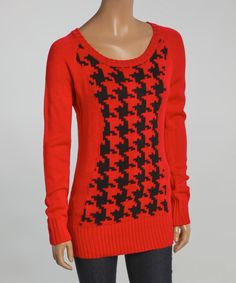 Look at this Yoki Red & Black Houndstooth Sweater on #zulily today!