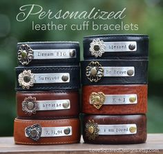 """Wear Your One Little Word 2015  Personalized CLASSIC 1"""" leather cuff by LoveSquaredDesigns  Wear the words that speak life to your soul!"""