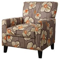 "Streamlined arm chair with multi color floral-print upholstery and padded cushioning.  Product: Chair. Construction Material: Fabric and wood. Color: Island flower. Dimensions: 38"" H x 31"" W x 33"" D. Joss and Main"