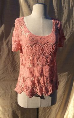 Coral Lace Crochet Top Boho Chic Crochet Blouse by KisKissay, $48.00