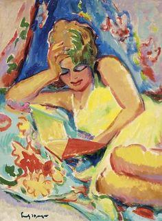 Moça lendo, s/d Freek Van Den Berg ( Holanda, 1918 -2000) óleo sobre tela.