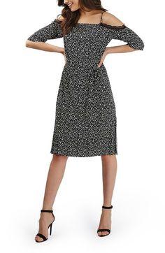 Topshop Lace Trim Geo Print Plissé Cold Shoulder Dress available at #Nordstrom