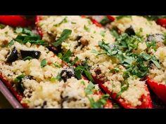 Ardei capia umpluți cu ciuperci și cușcuș - YouTube Grains, Rice, Youtube, Food, Essen, Meals, Seeds, Youtubers, Yemek