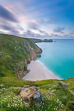 Pednvounder Beach and Logan Rock from Treen Cliff, Porthcurno, Cornwall