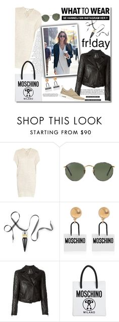 """""""What to Wear"""" by junglover ❤ liked on Polyvore featuring Helmut Lang, Ray-Ban, Christian Louboutin, Moschino, 2nd Day and NIKE"""