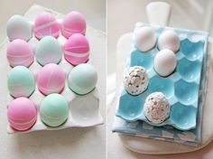 Rubber band patterned eggs and paper flowers decorated eggs; by Jennifer Bartoli of Chocolate Shavings for Style at Home.