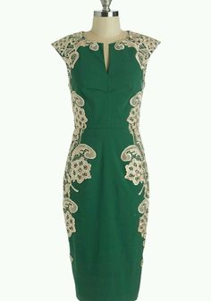 Retro Glam Green Dress with Lace