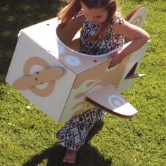 cardboard airplane or aeroplane for creative play by flatout frankie Cardboard Airplane, Cardboard Toys, Diy Karton, Creative Play, Craft Activities, Outdoor Fun, Little Ones, Gifts For Kids, Airplane Kids