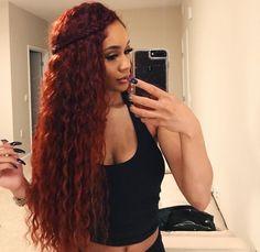 Hair not the color Pelo Color Borgoña, Curly Hair Styles, Natural Hair Styles, Hair Laid, Ginger Hair, Gorgeous Hair, Human Hair Wigs, Weave Hairstyles, Hair Looks
