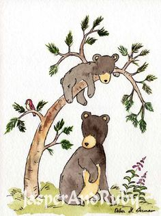 Woodland Nursery Art- Hide and Seek- 5X7 Archival PRINT of Black Bear Cubs for Baby and Children. $ 9.00, via Etsy.
