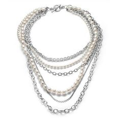 SLANE Pearl Multi-Strand Necklace with Sterling Silver Chains