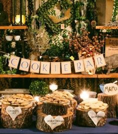 Cookie Bar at a rustic wedding reception
