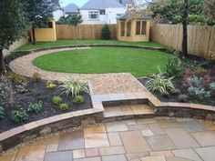 Circular lawn with another turf arc beyond.