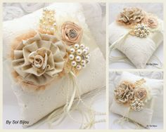 Ring Bearer Pillow Bridal Pillow Shabby Chic in Champagne, Nude and Ivory with Brooch, Pearls and Linen- Vintage Inspired  Ask a Question $125.00 USD