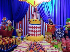 Dessert table at a circus birthday party! See more party planning ideas at CatchMyParty.com!